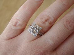 Morganite and Diamond Engagement Ring Halo Square by PenelliBelle, $1499.00