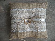 Burlap ring pillow Burlap Ring Bearer Pillow by NatalysWeddingArt