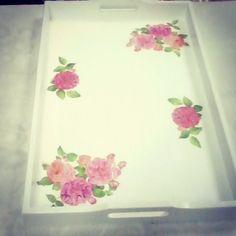 #bandeja #decoupage €,regalos #hogar #flores #rosas