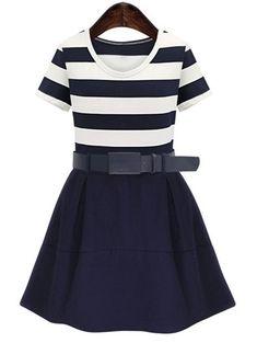 Plus Size Short Sleeve Striped Belt-Tie Dress For Women