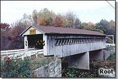 Ashtabula County Ohio Covered Bridge Festival  5. Root Road Bridge (3.9 miles from Graham Road Bridge)  A 114-foot Town lattice built in 1868, Root crosses the Ashtabula River. It was raised 18 inches during the rehabilitation in 1982/83, and new laminated girders and a center concrete pier were added.