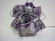 Holiday Ribbon Angel Ornament in Silver and Purple