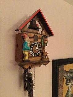 cuckoo clock gnomes black forest cuckoo clock running clock  gnome cuckoo clock nice color rebuilt