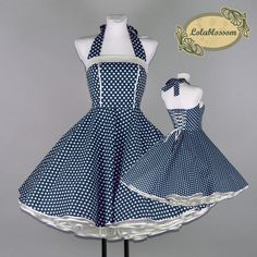 50s petticoat dress dance dress classic navy blue polka dots Passe # 96