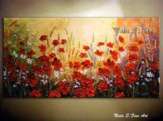 Wildflower texturiert Malerei abstrakt Acryl von NataSgallery