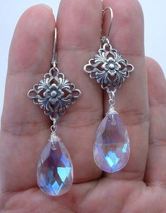 Lovely Clear Ab Quartz Sterling Silver Connectors Earrings -- Leverbacks A0117