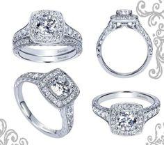 Stunning 14K White Gold Contemporary Halo Engagement Ring! #engagement #ring #fashion #haloengagementring #jewelry #diamonds JH Faske Jewelers (979)836-9282
