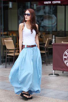 Romantic Light Blue Pretty Linen Bud Long Maxi by Sophiaclothing, $59.99