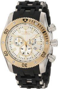 Invicta Men's 10250 Sea Spider Chronograph Silver Dial Watch Invicta. $121.84. Chronograph functions with 60 second, 30 minute and 1/10th of a second subdials; date function. Water-resistant to 100 M (330 feet). Silver dial with gold tone and white hands and hour markers; luminous; unidirectional 18k gold ion-plated stainless steel bezel; tachymeter on inner bezel. Swiss quartz movement. Flame-fusion crystal; brushed and polished stainless steel case; black polyuretha...