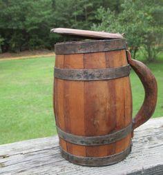 Vintage Wooden Barrel Lidded Stein..Barrel Mug..Vase..Cache'..Man Cave Decor..Rustic Log Cabin..Primitive Early American--Americana by AlloftheAbove on Etsy