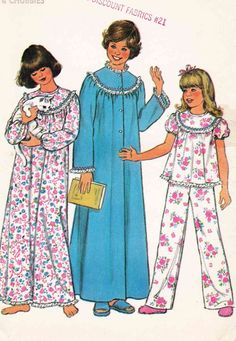 Vintage 1970s sewing pattern and instructions for girls' sleepwear - nightgown, robe and pajamas in size large. 1977 Simplicity 8127. Rick-rack and eyelet trimmed nightgown, pajama top and robe gather