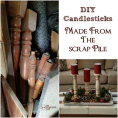 How to make DIY candlesticks using scrap wood, chair parts, and other bits and pieces. #sCRAPwoodchallenge