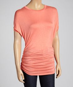 Look what I found on #zulily! sun n moon Coral Ruched Dolman Top by sun n moon #zulilyfinds