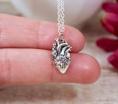 Anatomical Heart Necklace Sterling Silver Heart Jewelry