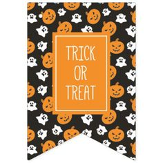 Halloween Trick or Treat Cute Ghosts & Pumpkins Bunting Flags - diy cyo customize create your own personalize