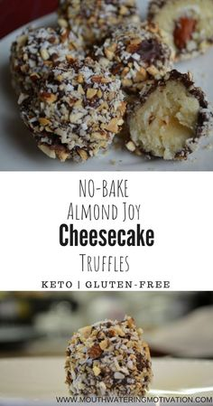 No-Bake Almond Joy Cheesecake Truffles GUYS. These were amazing! So simple to make and they make the perfect dessert. No-Bake Almond Joy Cheesecake Truffles GUYS. These were amazing! So simple to make and they make the perfect dessert. Desserts Keto, Keto Friendly Desserts, Sugar Free Desserts, Keto Snacks, Simple Keto Desserts, Keto Foods, Frozen Desserts, Dessert Oreo, Dessert Parfait