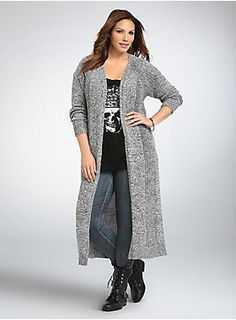 "<p>You'll never mix up this cardigan with your other sweaters; it's the only style you'll be reaching for again and again. Black and white marled knit covers the how-low-can-you-go duster style, while mixed stitch panels add texture to the snuggle down and cozy up style.</p>  <p> </p>  <p><b>Model is 5'9.5"", size 1</b></p>  <ul> 	<li>Size 1 measures 49 1/2"" from shoulder</li> 	<li>Cotton/acrylic</li> 	<li>Wash cold, dry flat</li> 	<li>Imported plus size cardigan</li> </..."