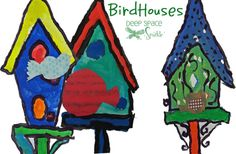 Painted bird houses and bird collage art project