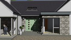 mod052 Modern Bungalow House, Bungalow Exterior, House Plans, Garage Doors, House Design, Outdoor Decor, Irish, House Ideas, Houses