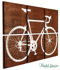Road Bike Print - Large Bicycle Painting - Custom Art on Wood Panels 24x36