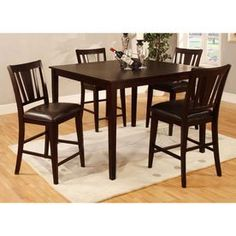 Shop Furniture of America Bridgette II Espresso 5-Piece Dining Set with Counter Height Table at Lowes.com