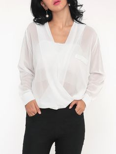 #AdoreWe #FashionMia Blouses - FashionMia Plain Seethrough Exquisite Blouse - AdoreWe.com