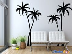 Tropical Palm Trees Silhouette Wall Decal