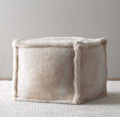 Luxe Faux Fur Square Pouf $69