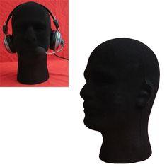 New Brand 1PC Black Male Styrofoam Foam Flocking Head Model Good Quality Wig Glasses Display Stand Black Wig Stand Pretty