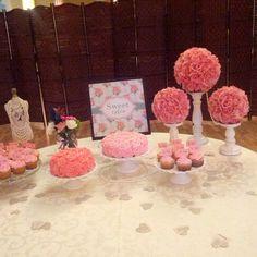 Sweets table wedding...I like the flowers/candlesticks