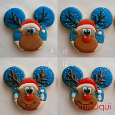 35 New ideas cupcakes decoration disney mickey mouse cookie cutters Christmas Sugar Cookies, Christmas Cupcakes, Holiday Cookies, Cute Cookies, Cupcake Cookies, Christmas Goodies, Christmas Treats, Disney Mickey Mouse, Cupcakes Decoration Disney