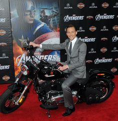 Tom Hiddleston rode a motorcycle.