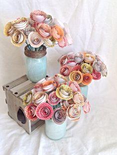 Table numbers. Wedding centerpiece. paper roses. rustic wedding. Mason jar. Spring wedding. Summer wedding. Country wedding. on Etsy, $27.50