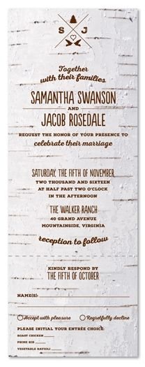 Birch Tree Wedding Invitations on 100% Recycled Paper ~ Mountain Birch by ForeverFiances Weddings