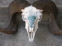 Ram Skull and Horns, Rustic Home Decor