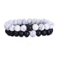 2Pcs/Set Couples Distance Bracelet Classic Natural Stone White and Black Yin Yang Beaded Bracelets for Men Women Best Friend Hot-in Strand Bracelets from Jewelry & Accessories on Aliexpress.com | Alibaba Group