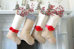 Christmas Stocking Unique burlap holiday stocking by KlaudiaDecore