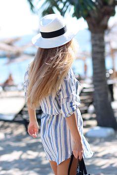Sirma Markova: Beach Stripes & Messy Hair Beach / Choies Shirt  http://www.choies.com/product/vertical-stripe-pocket-shirt-in-longline?cid=370bella