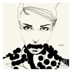 Pearls Giclee Print by Manuel Rebollo at Art.com Pencil/Pen Line Drawing