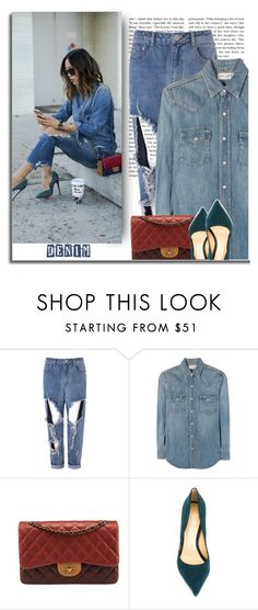 """""""Distressed Denim"""" by bliznec-anna ❤ liked on Polyvore featuring Glamorous, Yves Saint Laurent, Chanel, Alexandre Birman and denim"""