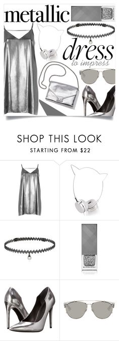 """""""Metallic Dress"""" by zoeysunday ❤ liked on Polyvore featuring River Island, Skinnydip, Loeffler Randall, BERRICLE, Burberry, Kendall + Kylie and Christian Dior"""
