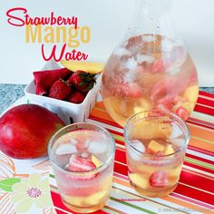 Strawberry Mango Flavored Water  | This is an easy way for me to drink less sugary drinks and more water throughout the day! @cspangenberg