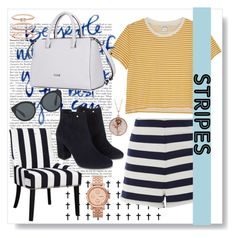 """""""Stripes"""" by amarallanna ❤ liked on Polyvore featuring MDS Stripes, Monki, Monsoon, Prada, Accessorize, Luna Skye and FOSSIL"""