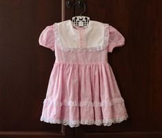 Vintage Baby Girl Pink and White Lace Dress with Bib by schatzli