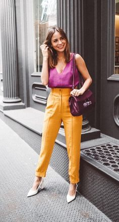 Orange is the new black according to it girls - Vogue regatta, trousers . Colourful Outfits, Colorful Fashion, Colorful Clothes, Orange Fashion, Casual Outfits, Fashion Outfits, Womens Fashion, Fashion Trends, Work Fashion