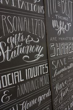 chalkboard lettering by Molly Jacques. Useful for my new backsplash.