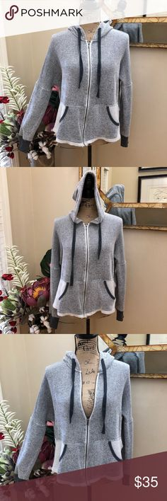 🍁Jack by BB Dakota distressed full zip hoodie 🍁Jack by BB Dakota distressed cute tie back charcoal hoodie Super soft and cozy medium weight  Oversized fit Perfect for a BOHO steampunk girl  Hooded with pockets  Super cute tie back for added style points I LOVE this hoodie!! Charcoal grey and white  Distressed on trend appeal Pre-loved in excellent condition Pitt to pit measurements approximately 23 1/2 inches Stretchy Length approximately 20 inches  Thank you for looking in our closet…