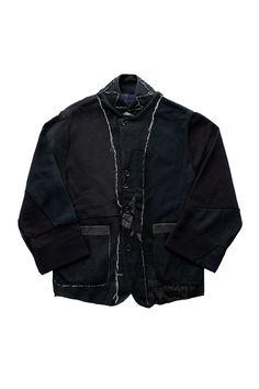 Porter Classic - HAND WORK SWEAT BLAZER(2)- BLACK 2  ポータークラシック《ハンドワークスウェットブレザー2》ブラック 「ヴィンテージカスタム」 色合い、色味、プリントが異なるスウェットを解体、継ぎ足して再構築したのちに一枚一枚ブラックに染色。襟裏のダイヤ柄はハンドステッチ。伝統あるブレザージャケットを、スポーティーなスウェットを解体して表現というアンチテーゼを優しく、温かく制作。 Porter Classic, Bomber Jacket, Jackets, Outfits, Fashion, Down Jackets, Moda, Suits, Fashion Styles