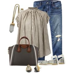 Gingham Top by hope-houston on Polyvore featuring moda, Nili Lotan, Gap, Topshop, Givenchy, Lacey Ryan and Henri Bendel