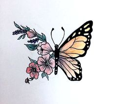 Colors I want Pencil Art Drawings, Art Drawings Sketches, Cute Drawings, Tattoo Drawings, Body Art Tattoos, Butterfly Drawing, Aesthetic Painting, Amazing Drawings, Art Sketchbook